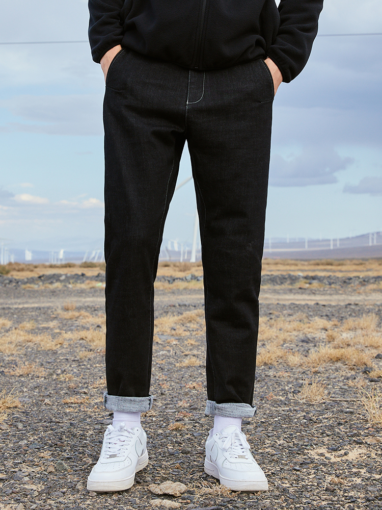 Pioneer Camp Black Causal Mens Jeans 2019 Straight Streetwear Outwear Solid Fashion Men Jeans ANZ901742T Men Men's Bottoms Men's Clothings Men's Jeans cb5feb1b7314637725a2e7: black
