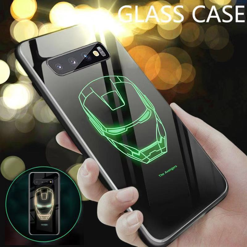 Marvel Avengers Temper Glass <font><b>Case</b></font> for <font><b>Samsung</b></font> Galaxy <font><b>S10</b></font> 5G Plus S10E S8 S9 Note 8 9 10 Coque Iron Man Glow Dark <font><b>LED</b></font> Phone Cover image