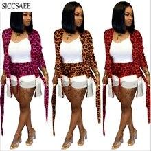 Leopard Printed Patchwork Two Piece Set Women Maxi Cardigan With Sashes Short Sets 2019 Autumn Conjunto Feminino E Blusa