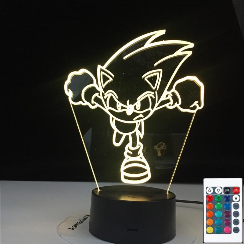 Sonic Running Figure Led Night Light for Kids Bedroom Decoration Nightlight Color Changing Usb Desk Lamp Sonic The Hedgehog Gift
