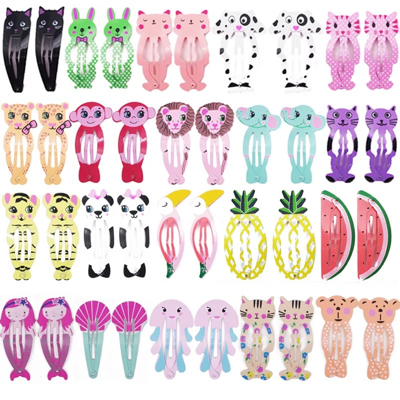 20Pcs/Lot Children Hair Accessories Metal Snap Princess Hair Clips Cute Animals Fruit Hairpins For Girls Candy Color Barrettes