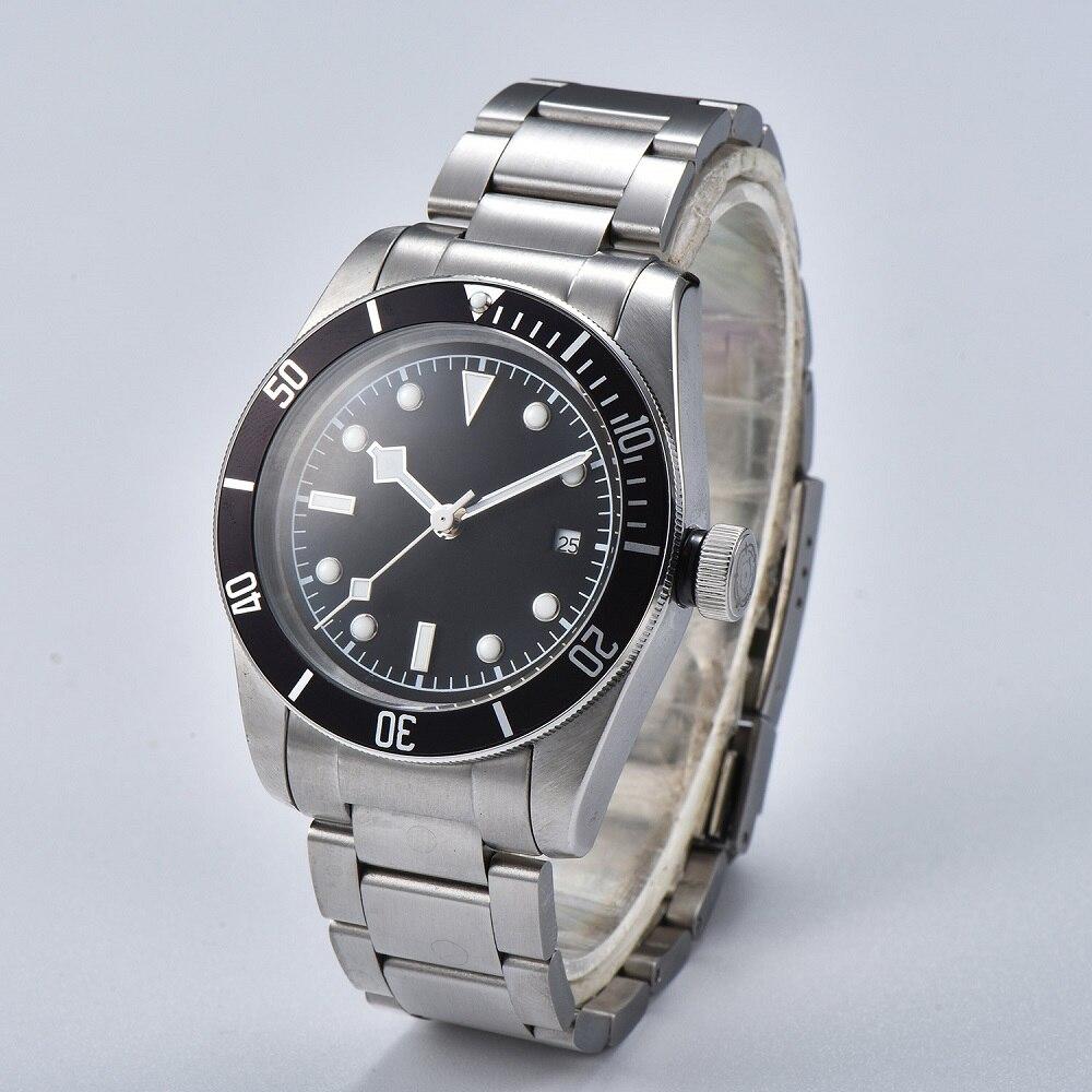 Watch Men 41mm Automatic mechanical watches black aluminum rotating bezel luminous Military men watch 05