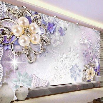 Custom Mural Wallpaper 3D Stereo Pearl Flower Fresco Living Room TV Sofa Bedroom Luxury Home Decor Wall Stickers 3D Wall Papers
