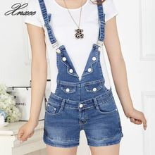 2019 summer denim shorts strap loose big yards Slim thin one piece Bib Jumpsuits Rompers fashion overalls buttons