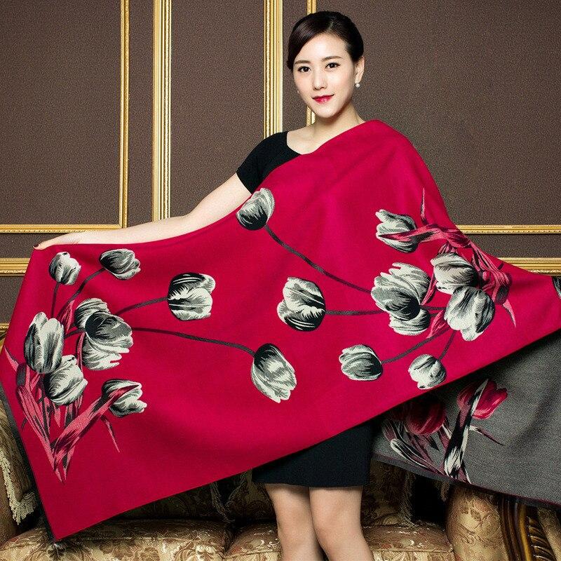 Winter Scarf For Ladies Brand Designer Women Pashmina Cashmere Scarves Double Sided Pastoral Flower Warm Thicken Shawl Scarfs