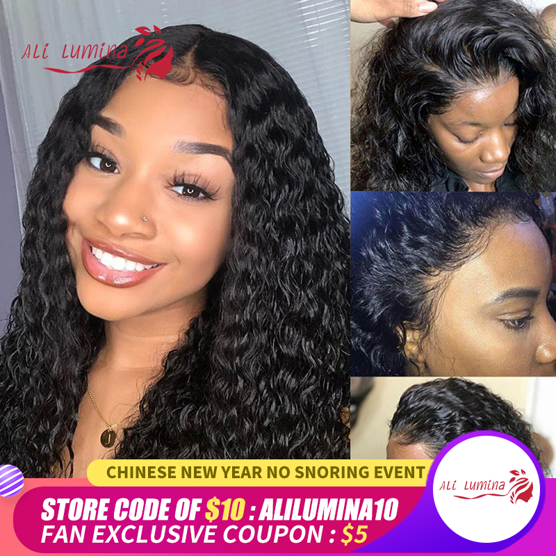 4X4 Lace Closure Wig Water Wave Human Hair Wigs 180 Density Brazilian Wig With Pre Plucked Hairline Remy Transparent Lace Wigs