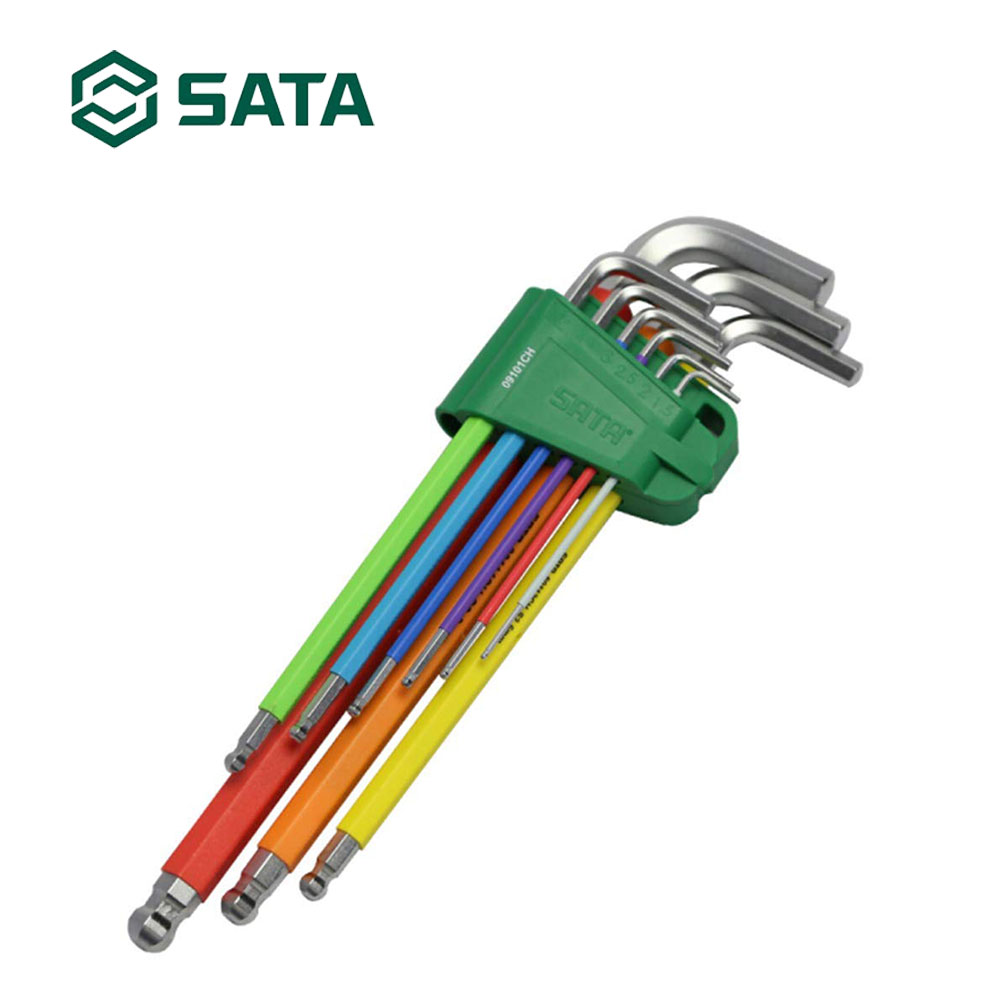 SATA Tool 9 Pieces L Shaped Hex Wrench, Multi-Colour Ball End Set Metric 09101CH