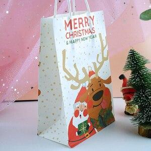 Image 5 - 6 sztuk/partia wesołych świąt bożego narodzenia torby papierowe z papieru pakowego Christmas Party nowy rok dekoracje świąteczne na prezenty z papieru Goodie torby do pakowania Dropship