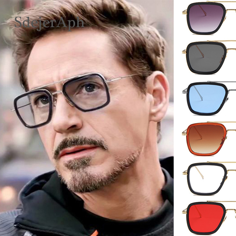 Iron Man 3 Avengers Tony Stark Men Oversized Sunglasses Shades Fashion Vintage Big Alloy Frame Square Mirror UV400 Sun Glasses