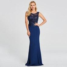 Dressv темно-Королевское синее длинное вечернее платье без рукавов с аппликацией из бисера Свадебное официальное платье русалки вечернее платье es