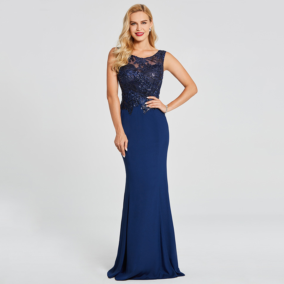 Dressv Dark Royal Blue Long Evening Dress Sleeveless Beading Appliques Wedding Party Formal Dress Mermaid Evening Dresses