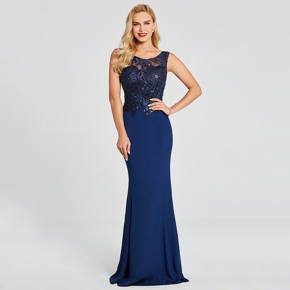 Dressv Dark Royal Blue Long Evening Dress Sleeveless Beading Appliques Wedding Party Formal Dress Mermaid Evening Dresses