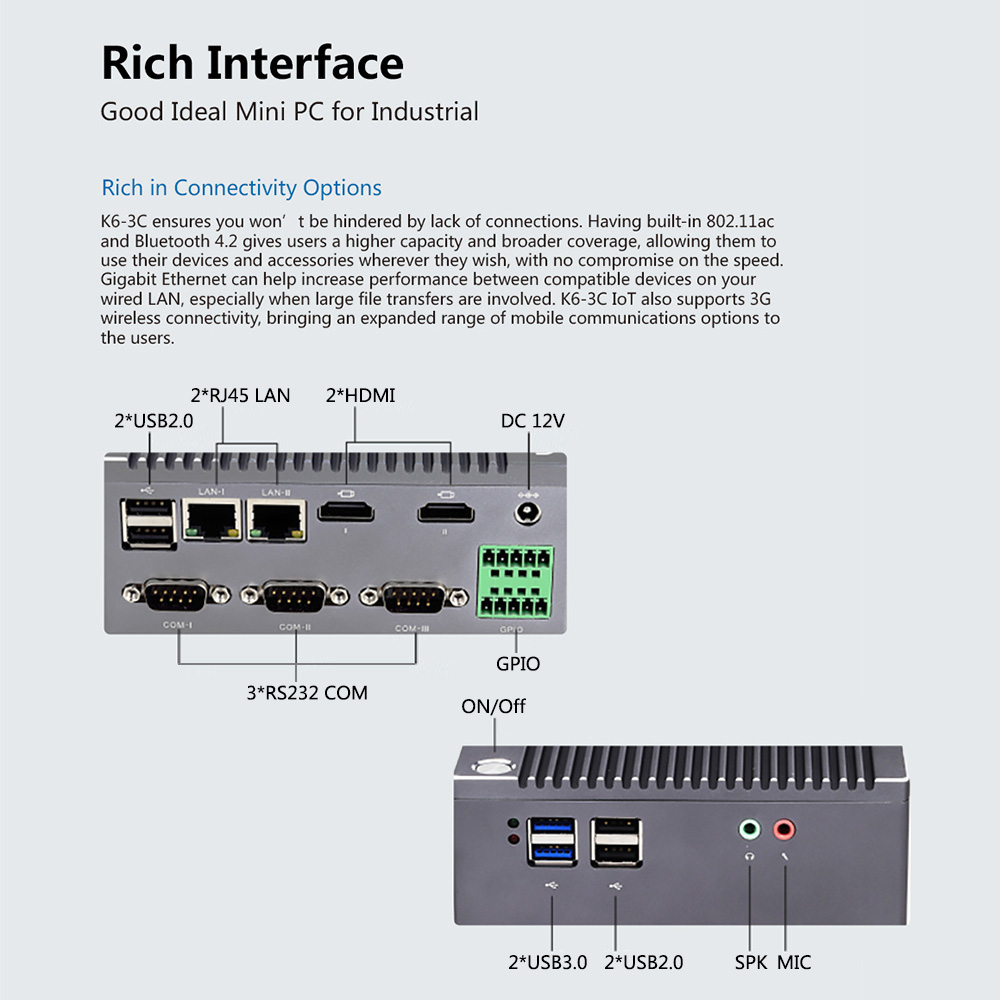 Image 3 - K6 3C fanless n2940 quad core industrial iot computador 1 * gpio 3 * rs232 com 2 * rj45 lan 2 * hdmi 6 * usb wifi 4 k mini pc windows linuxMini-PC   -