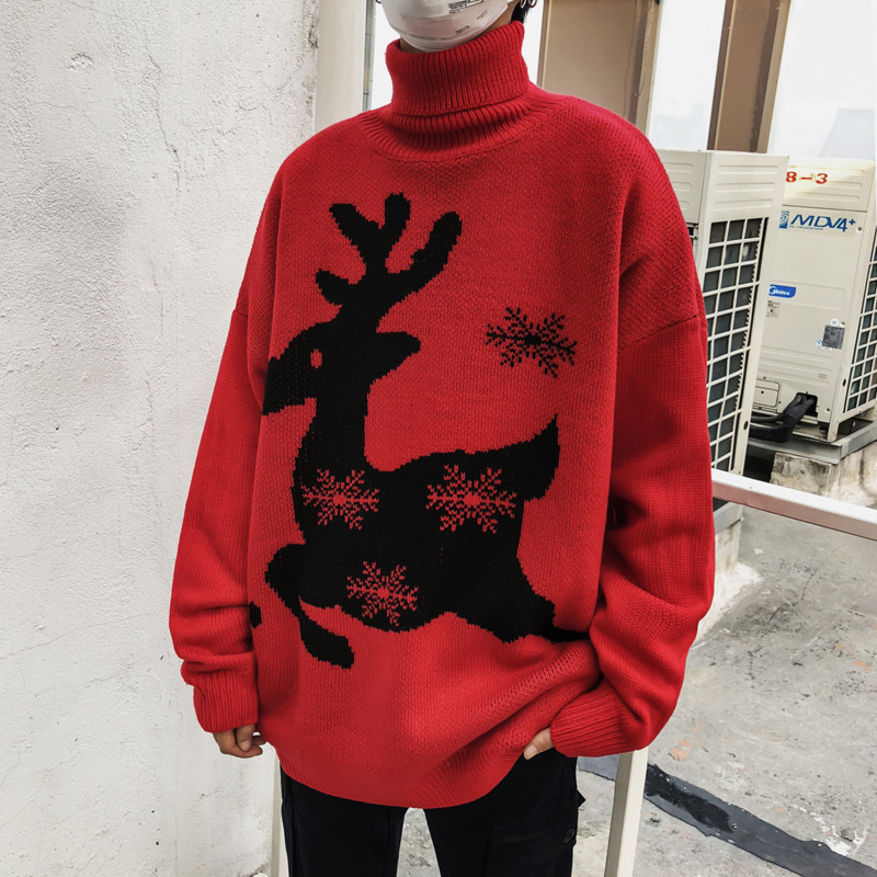 Winter Turtleneck Sweater Men's Warm Fashion Print Casual Knit Sweater Man Street Wild Loose Long Sleeve Pullover Men Clothes