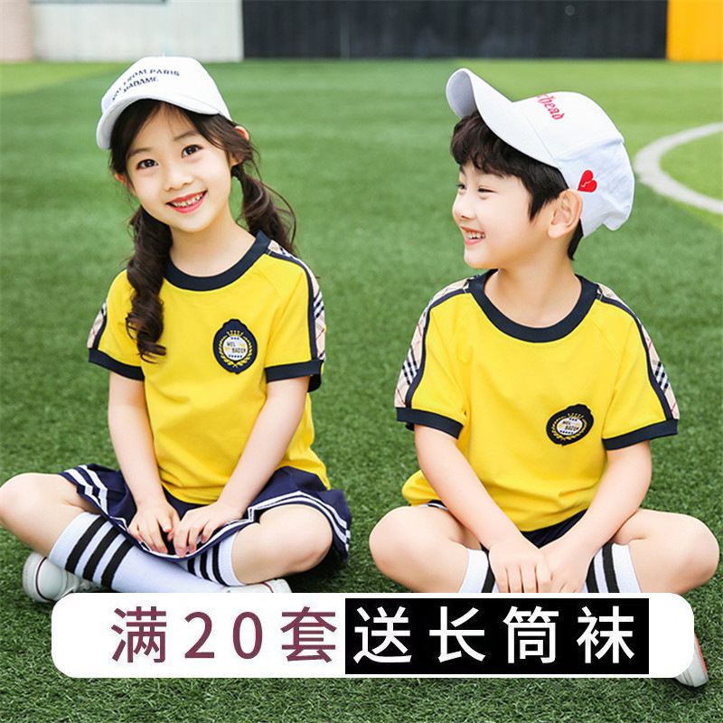 Young STUDENT'S School Uniform Summer Wear Short Sleeve Children Sports Clothing Set College Style Business Attire Kindergarten