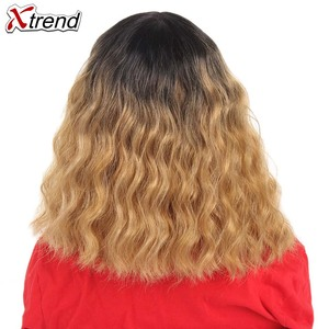 Image 3 - Xtrend Hair Synthetic Lace Front Wig Short Body Wave Middle Part Pelucas De Mujer Black Color 14 Inch Lace Wig