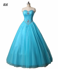 2019 Stock Blue Tulle Quinceanera Dresses Ball Gown Beaded Sweet 16 Dresses Formal Prom Party Gown Vestido De 15 Anos BM59 light blue tulle quinceanera dresses vestido de debutantes e 15 anos barato vestido de festa ball gown prom dresses beads