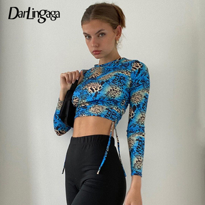 Darlingaga Streetwear Blue Leopard Print Bodycon Female T-shirt Side Drawstring y2k Top Sexy Cropped Autumn T shirt Tee Shirts