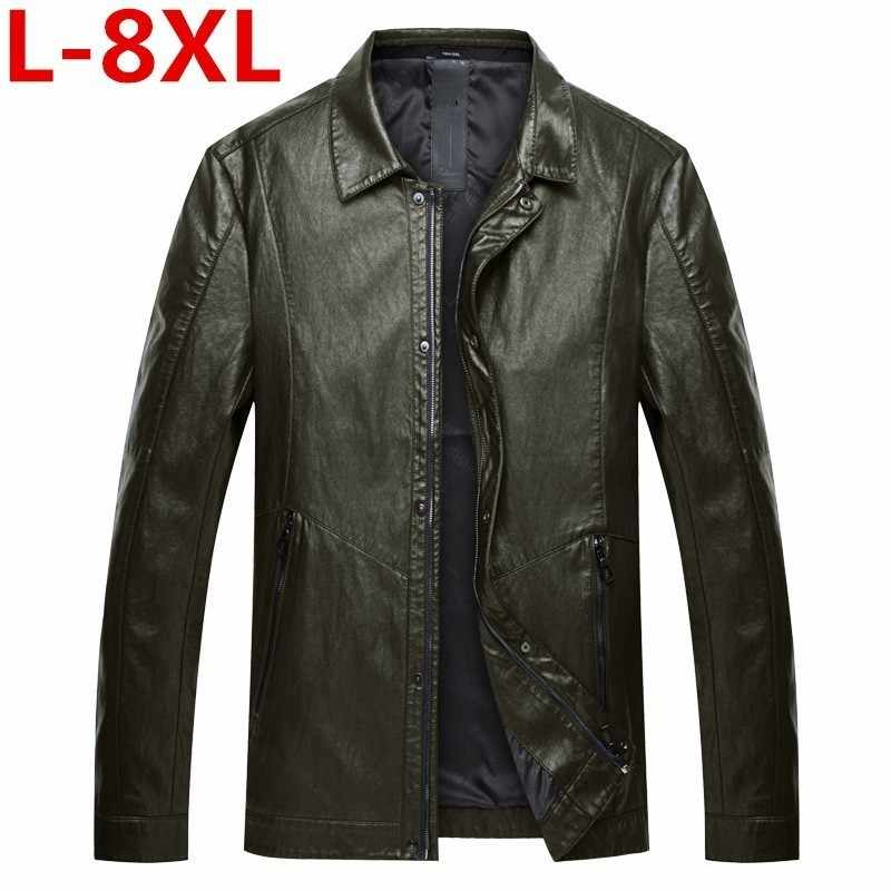 plus size 8XL 7XL  6XL New Fashion Men Clothes Spring Genuine Leather Jacket Single Breasted Coat Autumn Sheepskin Leather Coat