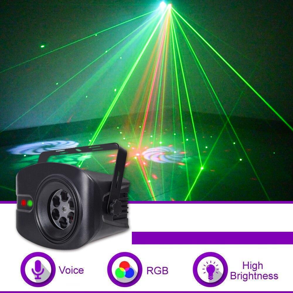 Новый светодиодный светильник для дискотеки, DJ, RGB, сценический эффект, светильник с дистанционным управлением, лазерный проектор, светильник s с умным звуковым управлением для бара KTV, вечерние Эффект освещения сцены      АлиЭкспресс