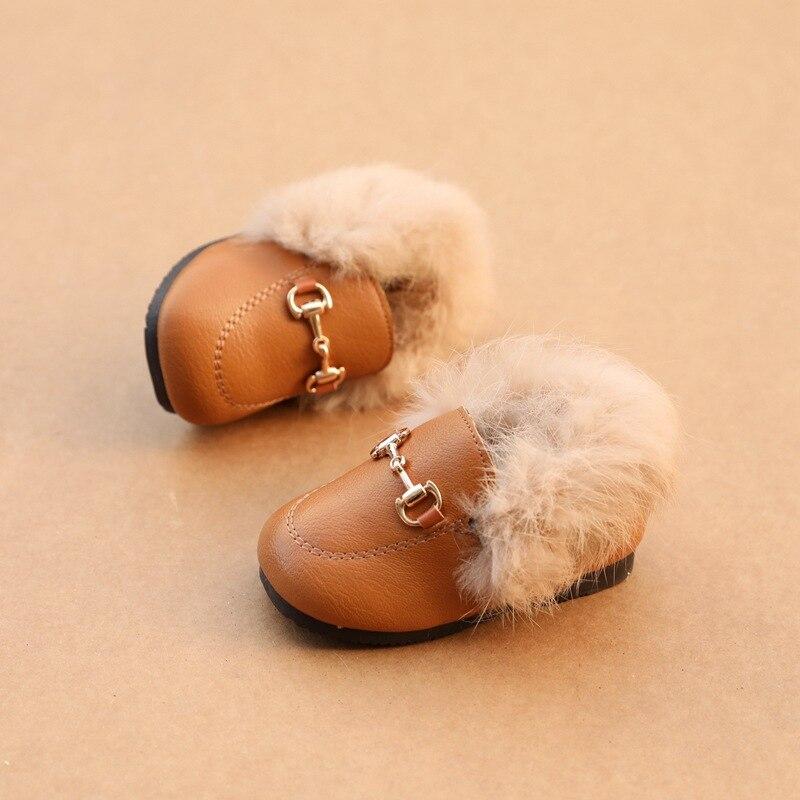 First Walkers Baby Girls Boys Winter Flat Shoes Warm Kids Fur Shoes Boys Girls Velvet Loafer Newborn Toddler Shoes Winter