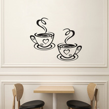 Room Decoration Vinyl Art Wall Decals Adhesive Stickers Kitchen Decor Beautiful Design tea Cups Double Coffee Cups Wall Stickers