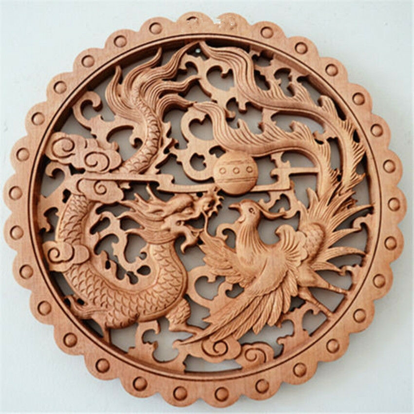 Chinese Hand-carved Wall Carvings Of Dragon And Phoenix Like Camphor Boards