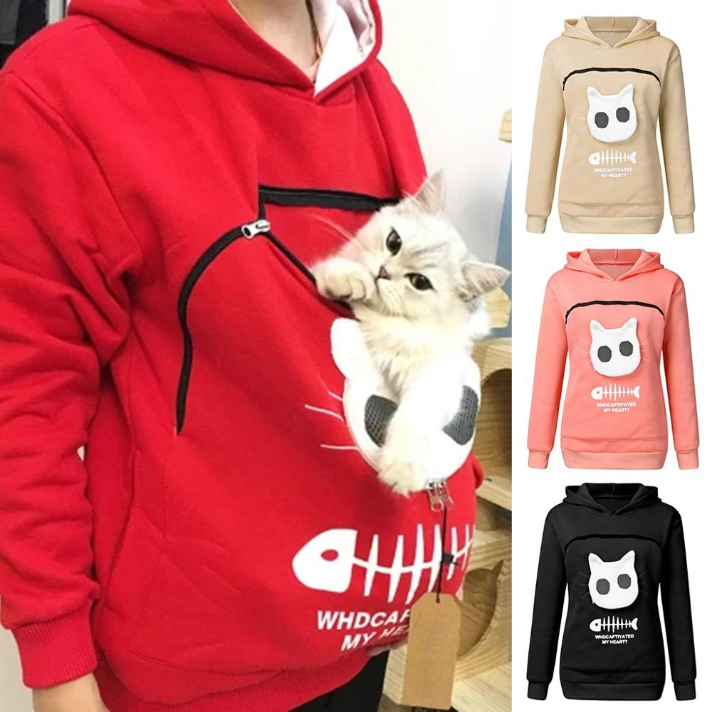 Women's Sweatshirt Cat Lovers Hoodie Kangaroo Dog Pet Paw Dropshipping Pullovers Cuddle PouchBreathable Sweatshirt