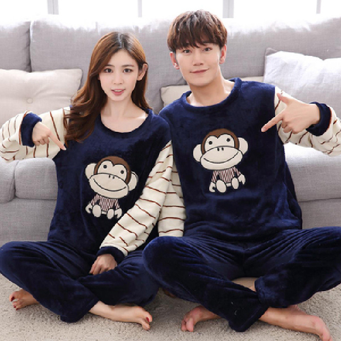 [Temperature Attitude Warm] Couples Pajamas Autumn And Winter Flannel Thick Warm Loose-Fit Flannel Stripes Monkey Home Wear