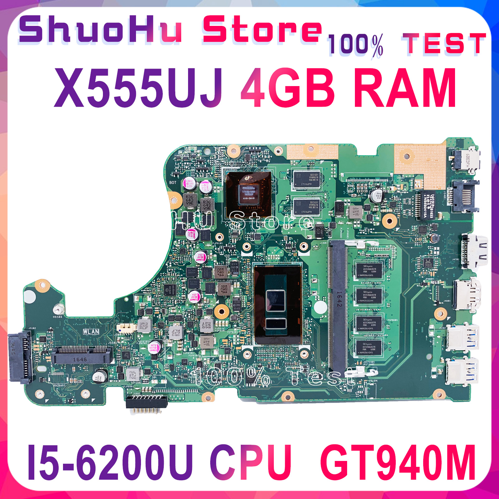 KEFU <font><b>X555UJ</b></font> For <font><b>ASUS</b></font> X555U <font><b>X555UJ</b></font> X555UB X555UF laptop motherboard I5-6200U 4G Memory GT940M tested 100% work original mainboard image