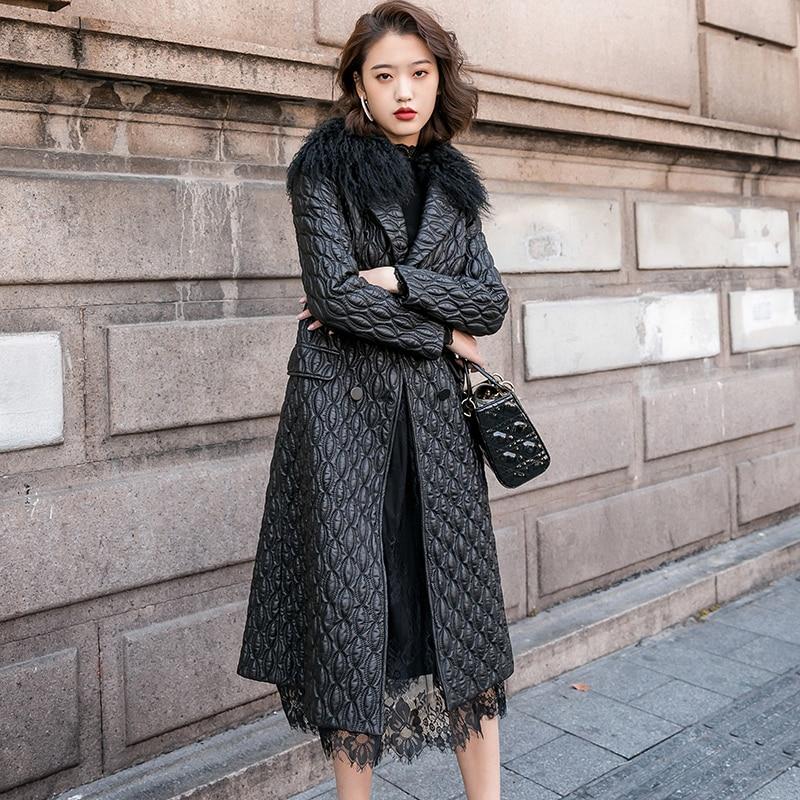 Winter Genuine Leather Jacket Women Clothes 2020 Korean Streetwear Long Sheepskin Coat + Real Wool Fur Collar Hiver 81880