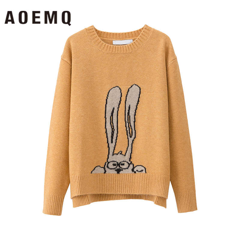 AOEMQ 패션 스웨터 4 색 만화 토끼 인쇄 귀여운 긴 귀 토끼 자수 스웨터 Pullovers 겨울 여성 의류