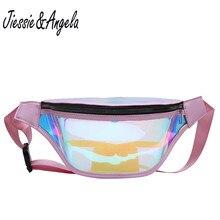 Jiessie&Angela Women Fanny Pack Laser Transparent Bag For Fashion Multipurpose Female Belt Bags PVC Waterproof Waist