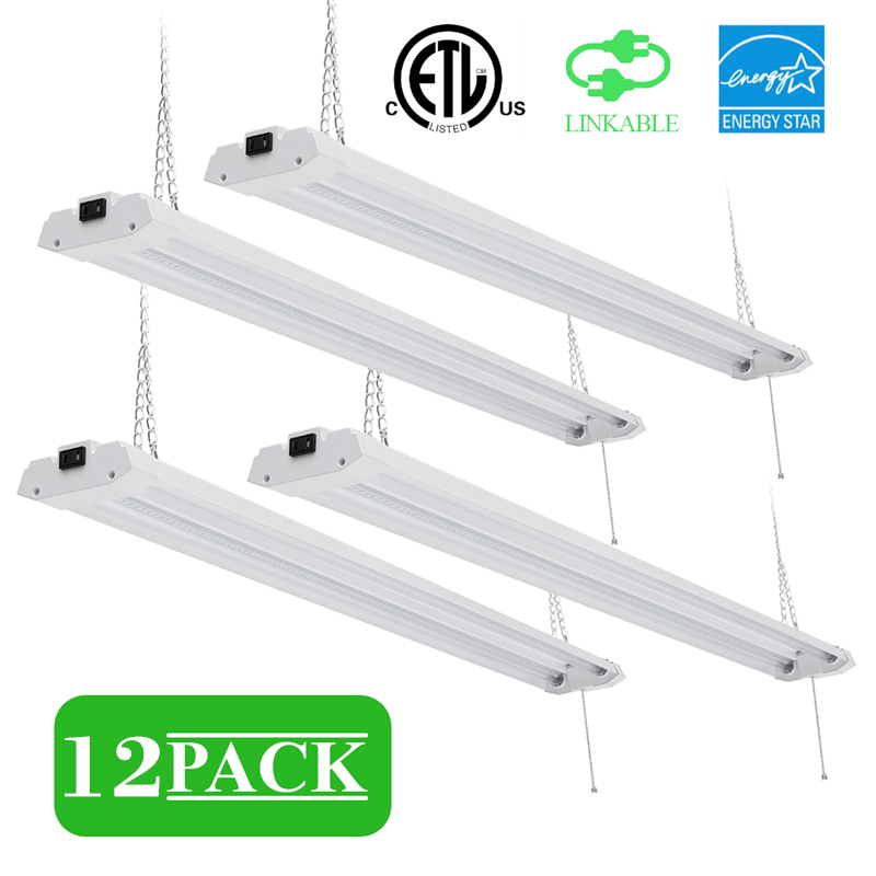 4PCS 40W Garage Lighting Fixtures Ceiling LED Shop Lights For Garages 5000K Workshop LED Light Bar Warehouse Lights With Plug