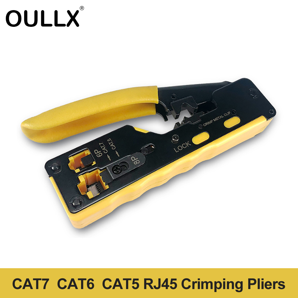 OULLX EZ Cat7 RJ45 Crimper Hand Network Tools Pliers RJ12 Cat5 Cat6 8P8C Cable Stripper Pressing Clamp Tongs Clip Multi Function