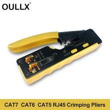 OULLX EZ Cat7 RJ45 Crimper Hand Netzwerk Werkzeuge Zangen RJ12 Cat5 Cat6 8P8C Kabel Stripper Drücken Clamp Zange Clip Multi funktion