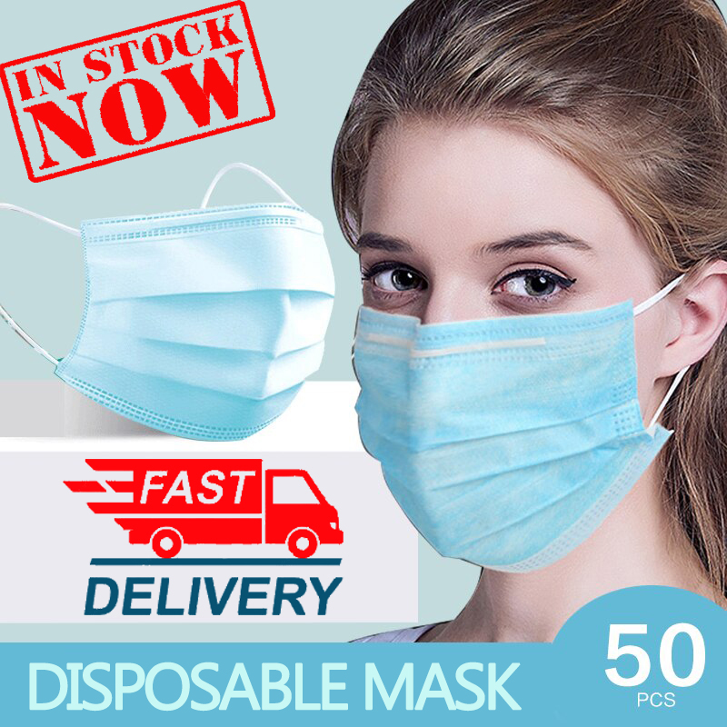 CC Disposable Masks Face Mask Mascherine 3 Layer Non Woven Safe Masque 50pcs Protection Health Earloops Maska  Fast Delivery
