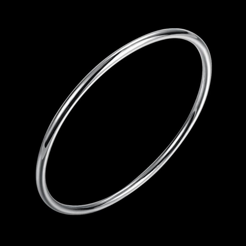 Sterling Silver Bracelet Fashion Personality Simple And Smooth Bangles Solid 925 Silver Women Bracelet Jewelry