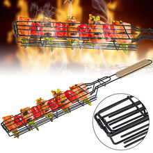 Portable Kabob BBQ Grilling Basket Stainless Steel Nonstick Barbecue Grill Basket Tools Mesh Kitchen Tools kitchen accessories