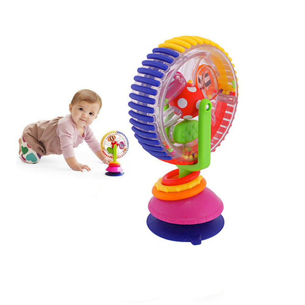 Baby Ferris Wheel Windmill Tricolor Rotate Augmented Reality Toys Infant Sucker Toys For Dining Chair Baby Stroller Learning Toy