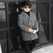 Плотное шерстяное пальто в клетку на осень и зиму, детская Длинная шерстяная двубортная куртка, ветровка для мальчиков, детское зимнее пальто