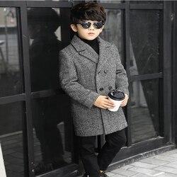Утепленное шерстяное пальто в клетку; сезон осень-зима; детская Длинная шерстяная двубортная куртка; ветровка для мальчиков; детское зимнее...