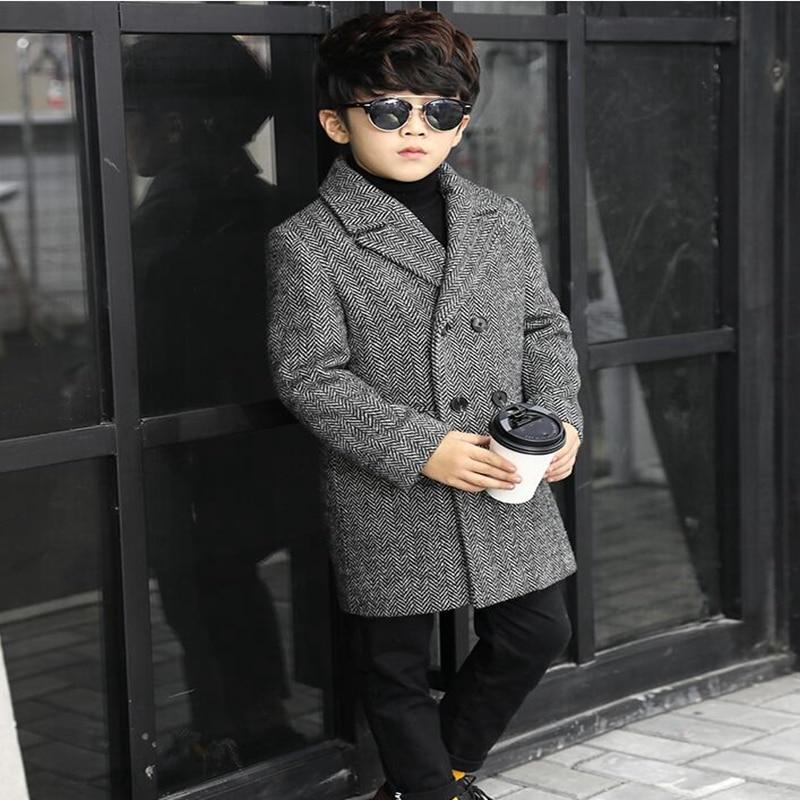 Thicken Autumn Winter Plaid Woolen Coat Children's Long Wool Double-breasted Jacket Boy Windbreaker Kids Winter Overcoat
