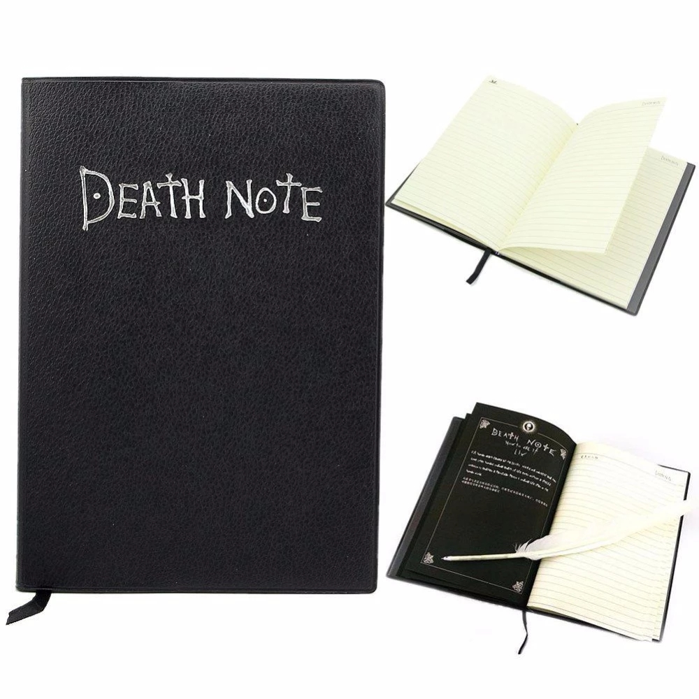 Role Playing Dead Note Writing Feather Pen Journal Notebook School Diary Cartoon Book Cute Fashion Theme Death Note Plan Anime