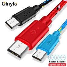 Olnylo naylon örgülü mikro USB kablosu Data Sync USB şarj aleti kablosu Samsung HTC Huawei Xiaomi için Tablet Android USB telefon kabloları