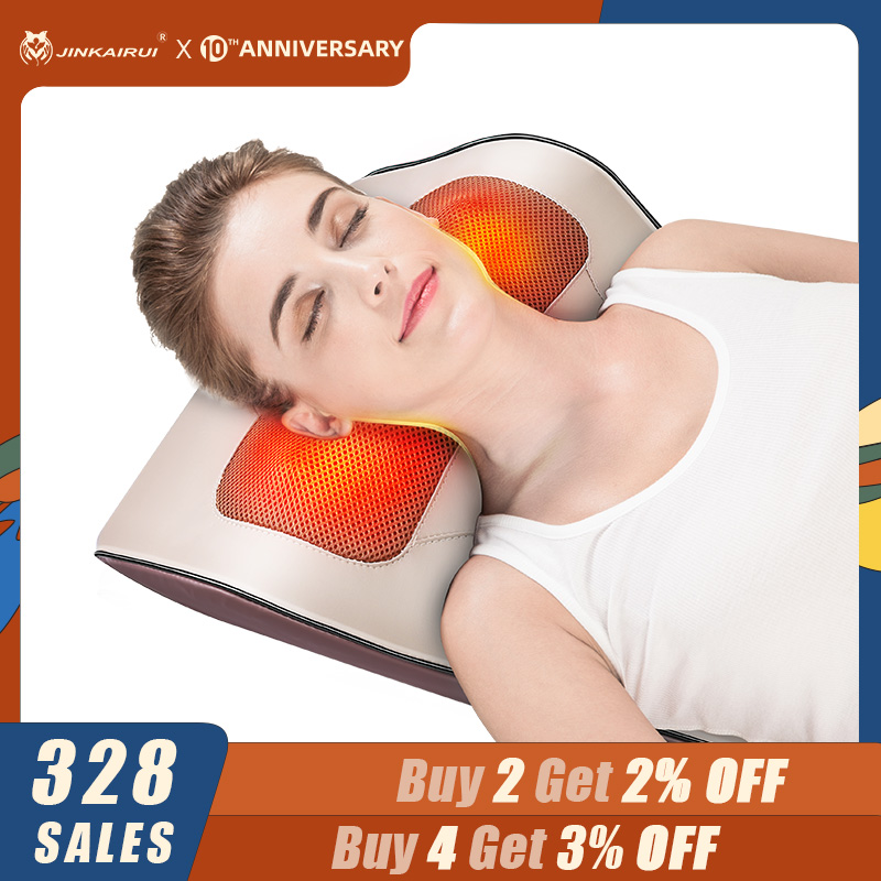 Jinkairui Multi-functional Kneading Cervical Massage Pillow Use For Neck Shoulder Waist Car Home Dual-use Device Massager
