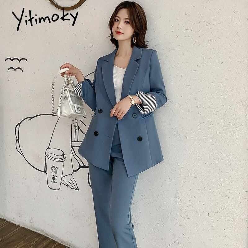 Pant Suits For Women Blazer Set 2 Pieces Lady Suit Elegant Office Lady Turn-down Collar Plus Size Korean Winter Clothes Work