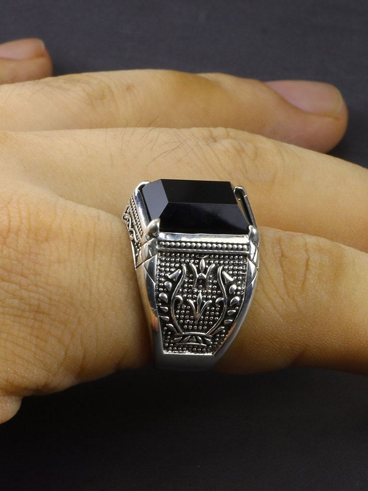 Mens Rings Engraved Flower Onyx Vintage Jewelry Natural-Stone 925-Sterling-Silver Black
