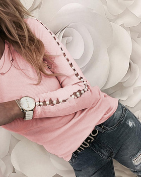 Elegant Pearl Nail Bead Long Sleeve Pink Knit Sweaters Women Invierno 2020 O Neck Hollow out Pullovers Black Grey Ladies Tops 2