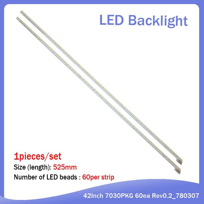 New 20PCS/lot 525mm LED Strip For TV LG Innotek 42Inch 7030PKG 60ea Rev0.2 Type 60LED